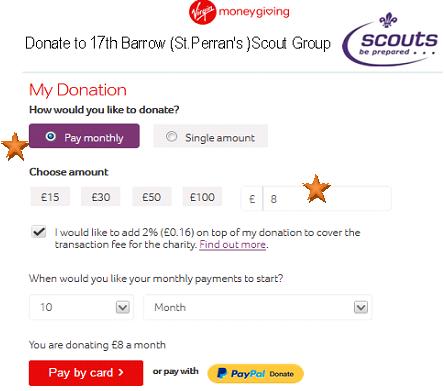 Donate to 17th Barrow Scouts screenshot